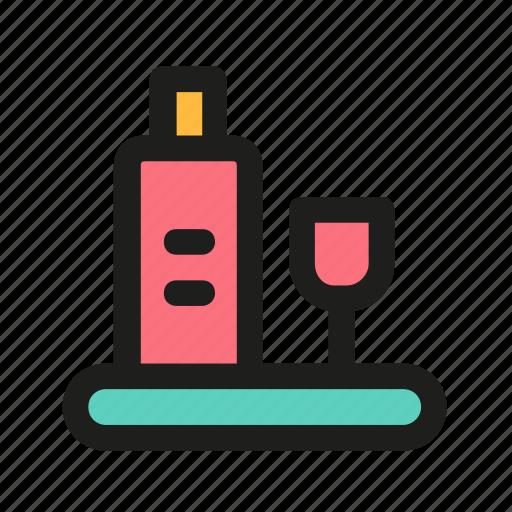 bottle, drink, glass, restaurant, vine icon