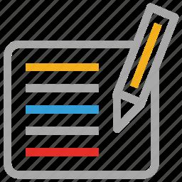 pen, sheet, text, write icon