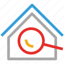building, find, location, magnifying icon