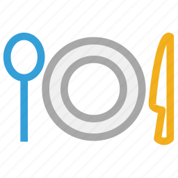 cutlery, knife, plate, spoon icon