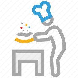 chef, cooking food, hotel service, restaurant icon