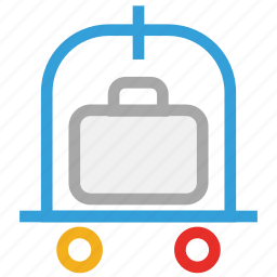 baggage cart, hotel baggage cart, hotel baggage trolley, luggage cart icon