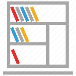 books, bookshelves, library, study icon