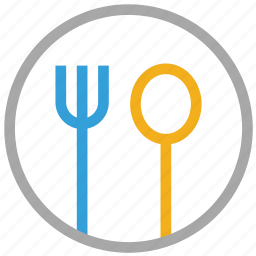 cutlery, fork, plate, spoon icon