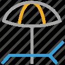 beach inventory, deck chair, tropical beach, umbrella icon