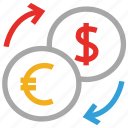 dollar, dollar and euro, euro, money exchange icon