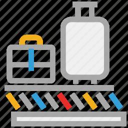 airport, baggage belt, baggage claim belt, baggage sorting icon