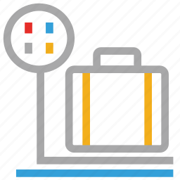 airport, airport custom, travel, weight of luggage icon