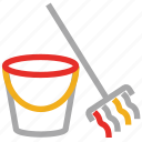 bucket, clean, cleaner, mop icon