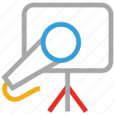 easel, mic, presentation, report icon