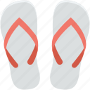 beach sandals, flip flops, footwear, slippers, thongs slippers icon