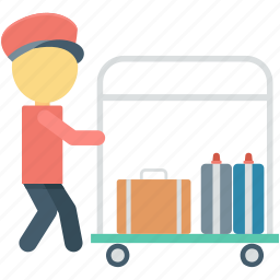 hotel cart, hotel service, luggage, luggage cart, porter icon