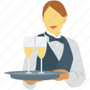 female waiter, hotel staff, waiting staff, waitperson, waitress icon