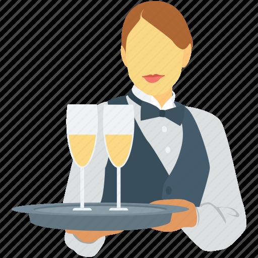 female waiter, hotel staff, waiting staff, waitperson, waitress icon