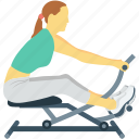 activity, exercise, female, gym, spinning bike icon
