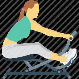 activity, exercise, female, gym, spinning bike icon
