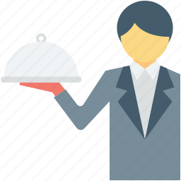 food server, hotel staff, male waiter, waiter, waiting staff icon