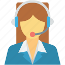 call center, customer representative, customer service, customer support, female icon