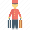 bellhop, driver, hotel man, hotel porter, luggage icon