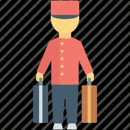 bellhop, driver, hotel man, hotel porter, luggage icon