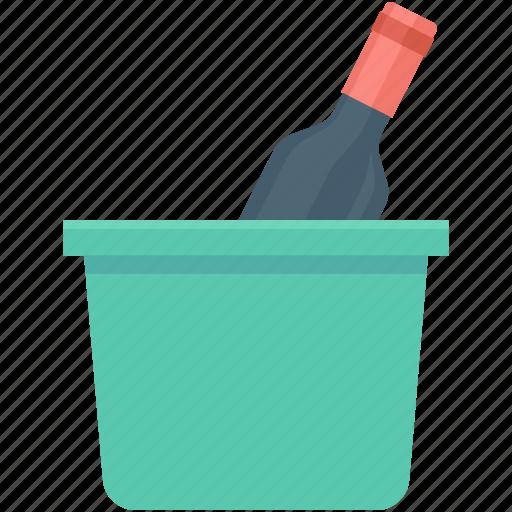 alcohol, beer bottle, champagne bucket, wine bottle, wine bucket icon