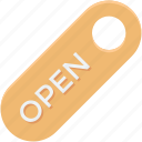 door label, label, open, open tag, tag icon