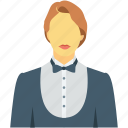 female waiter, hotel services, hotel staff, waiting staff, waitress icon