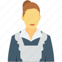 hotel maid, hotel worker, maid, room service, woman icon