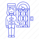 bellboy, bellhop, check, elevator, female, holiday, hotel, in, service, spa, trip, vacation icon