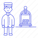 1, bellboy, bellhop, check, hotel, in, luggage, male, receptionist, service, spa, trolley icon