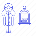 2, bellboy, bellhop, check, female, hotel, in, luggage, receptionist, service, spa, trolley icon