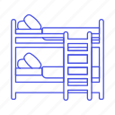 2, bed, bedroom, bunk, bunkbed, holiday, home, hotel, ladder, rental, room, spa, trip, vacation icon