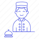 bell, bellhop, call, check, counter, hotel, in, male, out, reception, receptionist, service, spa, vacation icon