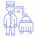 1, bellboy, check, dining, domed, food, hotel, in, man, room, service, spa, tray, trip icon