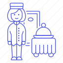 bellboy, check, dining, domed, food, hotel, in, room, service, spa, tray, trip, woman icon