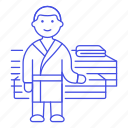 bathrobe, benches, gym, holiday, hotel, male, relaxation, robe, room, sauna, spa, vacation icon