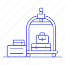 baggage, bellboy, bellhop, check, hotel, in, luggage, service, spa, trip, trolley, vacation icon