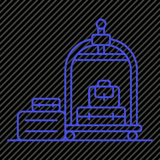 baggage, bellboy, bellhop, check, hotel, in, luggage, service, spa, trip, trolley, vacation icon