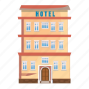 apartment, building, cartoon, hotel, motel, office, real icon