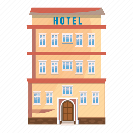 Apartment Building Cartoon Hotel Motel Office Real Icon