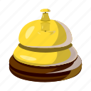 assistance, bell, cartoon, gold, hotel, reception, service icon