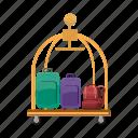 baggage, cartoon, hotel, porter, service, suitcase, trolley icon