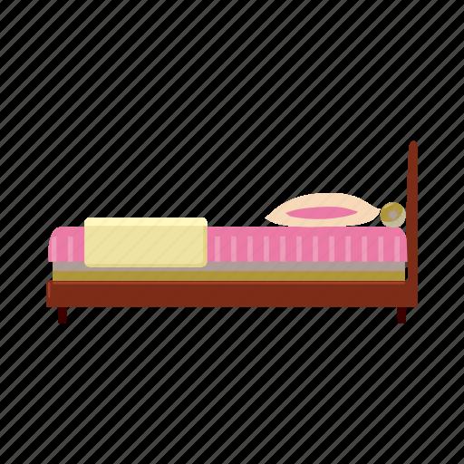bed, bedroom, cartoon, furniture, hotel, pillow, sleep icon