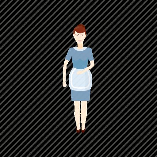 cartoon, female, hotel, maid, service, uniform, woman icon