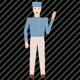 blue, cartoon, doorman, hotel, occupation, service, work icon