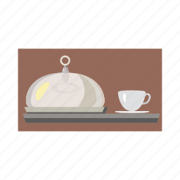 cartoon, cloche, coffee, cup, dish, food, tray icon