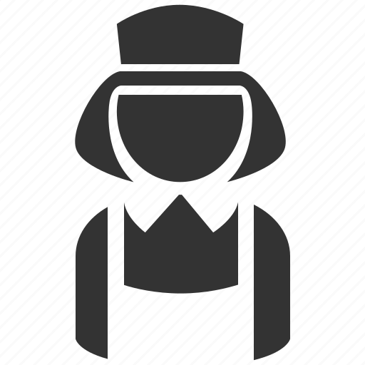 cleaner, housekeeping, maid, sweeper, waitress icon