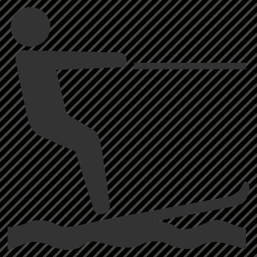 exercise, play, relax, ski, sport, water ski icon