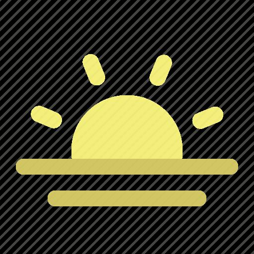 sun, sunny, sunrise, sunset, view, vision icon