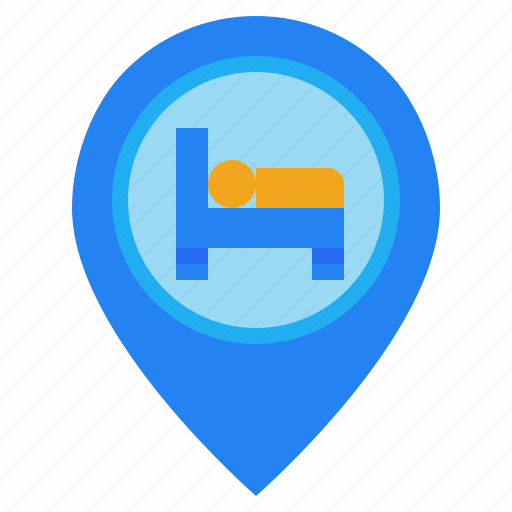bed, hotel, location, map, motel, pin icon